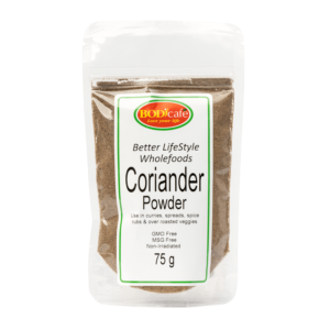 Coriander Powder 75g | Add Coriander Powder (R16.33) to marinades, curries or to oven-baked dishes. Coriander health benefits: Assists with skin-related issues, Assists with digestion, A natural source of calcium and Contains Vit C as an immune booster. Add to- • Spice Rubs • Curries • Pickle mixes