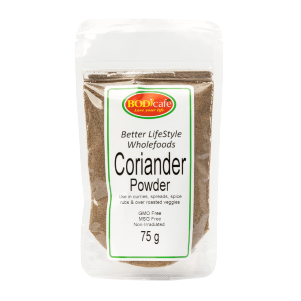 Coriander Powder 75g   Add Coriander Powder (R16.33) to marinades, curries or to oven-baked dishes. Coriander health benefits: Assists with skin-related issues, Assists with digestion, A natural source of calcium and Contains Vit C as an immune booster. Add to- • Spice Rubs • Curries • Pickle mixes