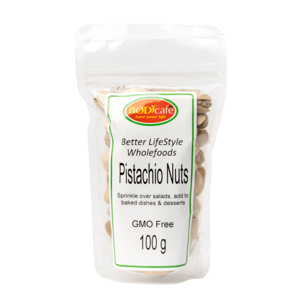 Pistachio Nuts 100g | Pistachios (R51.06) can be added to nut mixes, salads, or can be roasted and sprinkled over baked goods. Health benefits: Low-calorie snack, Rich in antioxidants, Contain fibre for digestive health and Good source of essential amino acids.